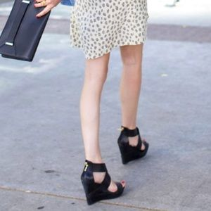 Diane von Furstenberg Opal Leather Wedge Sandals